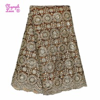 Good tounching european african gold sequin fabric george silk lace fafbric