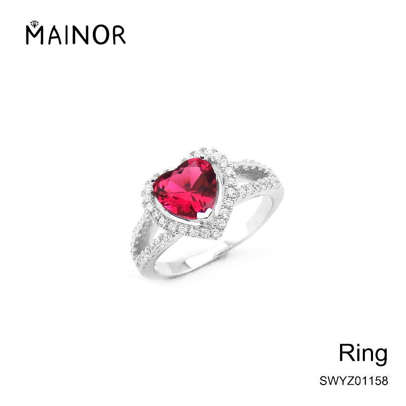 Wholesale jewellery 925 sterling silver ruby multi gemstone CZ ring