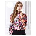 New Arrived Women Floral Print Summer Shirt Chiffon Loose Plus Size Shirt Turn down Collar Long
