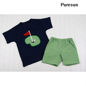 Wholesale little boys appliqued T shirt and shorts summer clothes boutique toddler boys cute outfits