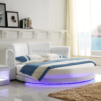 White Leather Led Light Double Bed Designs Adult Round Beds Cy001-1 ...