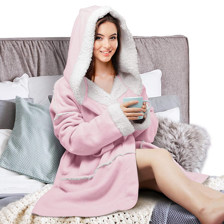 Catalonia Women s Hooded Robes Soft Warm Short Plush Fleece Bathrobe Sherpa  Lined Dressing Gown 66a5e1b0fb