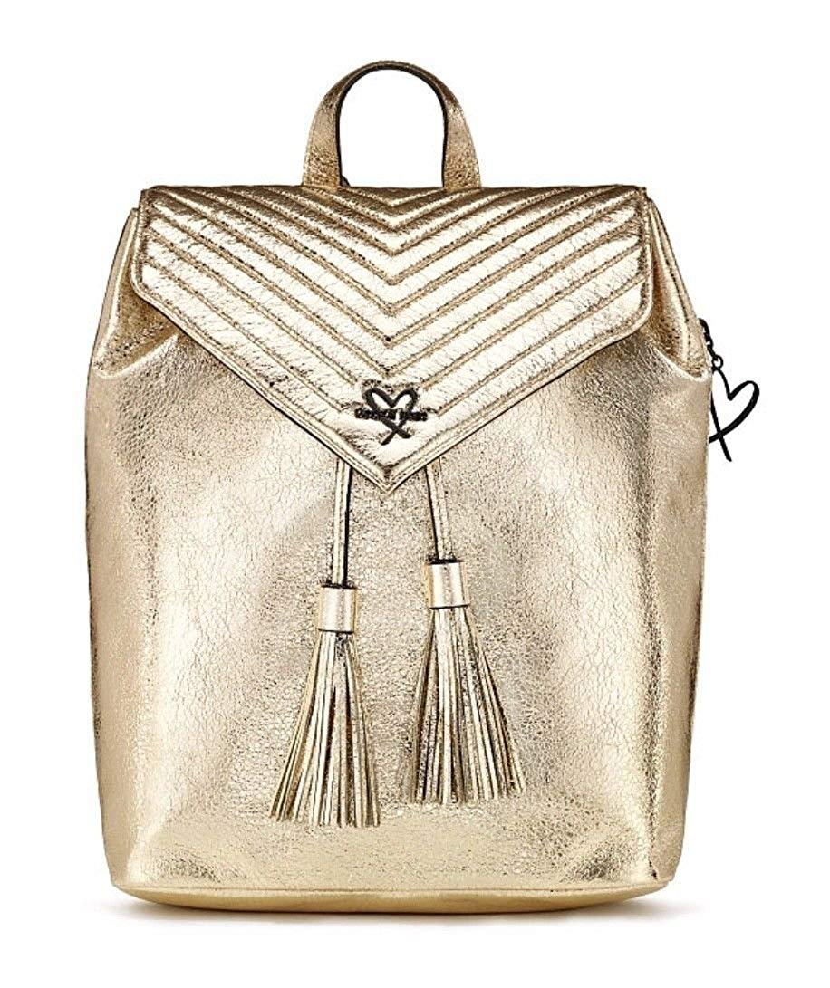 cdfe147074 Get Quotations · Victoria Secret Angel Backpack V-QUILT Crackle Gold  Metallic Shiny Faux Leather