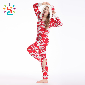 Women red camo Polar fleece romper leopard print adult slouchy onesie  promotion lady girls cheap long adef83a8c