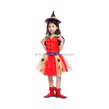 Professional Wholesale Halloween Performance Costume Spider Little Girl Witch Chinese Dance Costume