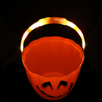 Halloween Portable LED Pumpkin Bucket Children Pumpkin Candy Pail Holder Barrel Party Gifts Decorations Storage Box