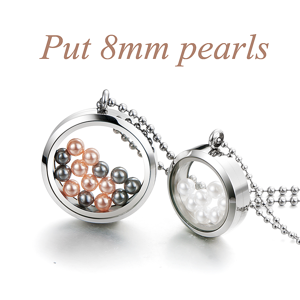 <strong>Fashion</strong> Round personalized stainless steel floating charm locket for fit 8mm pearls