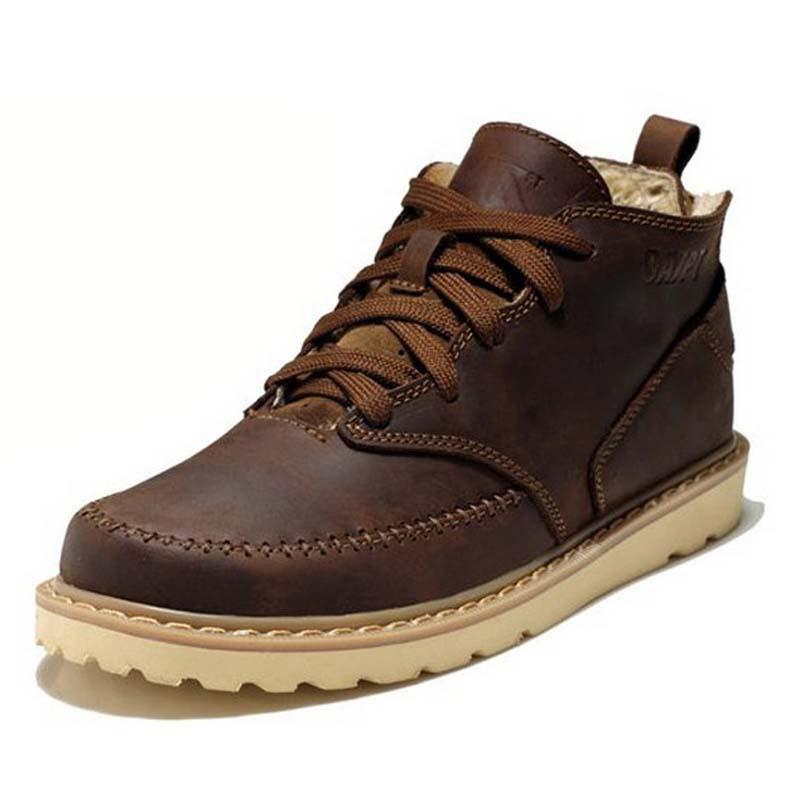 Leather winter men boots ankle platform brown lace up fur