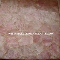 Natural Gemstone Rose Quartz Counter Top Slabs
