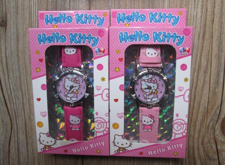 1pcs Fashion Quartz Wristwatches,New Style Hello Kitty watch with box Kids Cartoon Watch with box