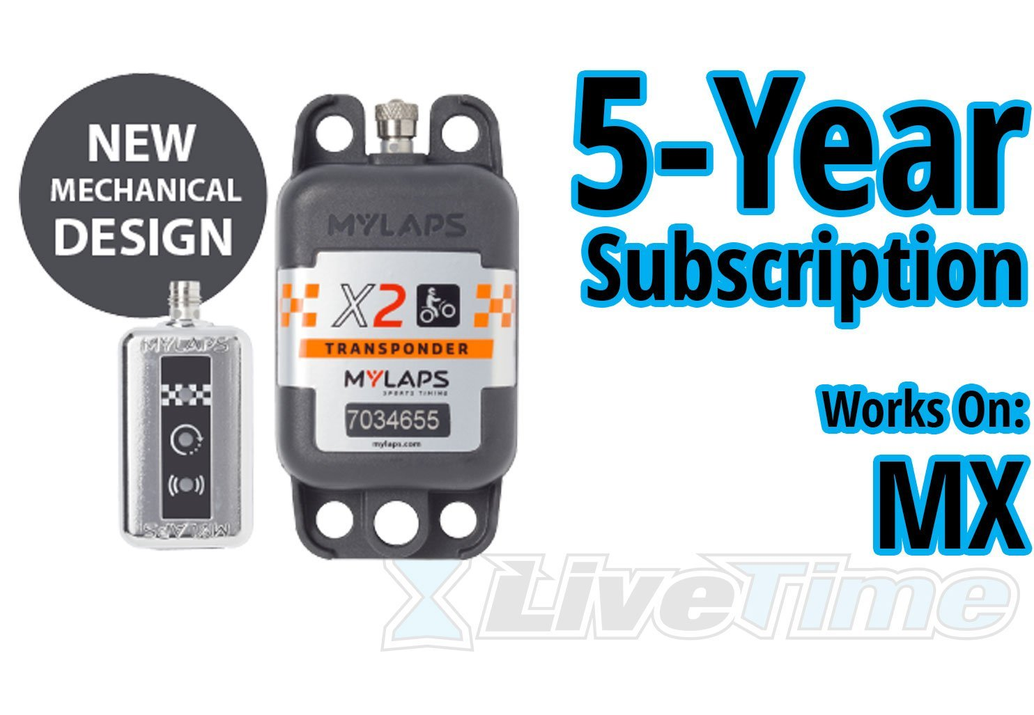 MyLaps X2 Transponder, Rechargeable, for MX (motocross), includes 5-Year Subscription