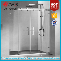 frameless tempered curved glass sliding bath shower screens