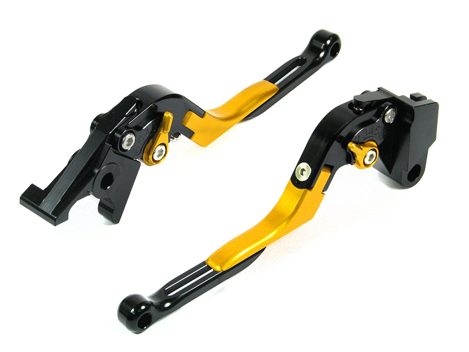 Autobahn88 Performance-Extendable-Foldable-Series Motorcycle Clutch Brake Lever Set for Hyosung GT250R 2006-2010 - Gold / Black-Gold-Black (Adjuster/Lever)