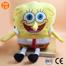 customized cartoon sponge bob plush toy with hook/stuffed sponge baby doll for promotion premiums or souvenir