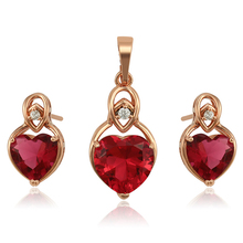 S-3 imitation dubai costume gold heart shaped fashion zirconia women necklace jewelry sets, rose gold jewels jewellery