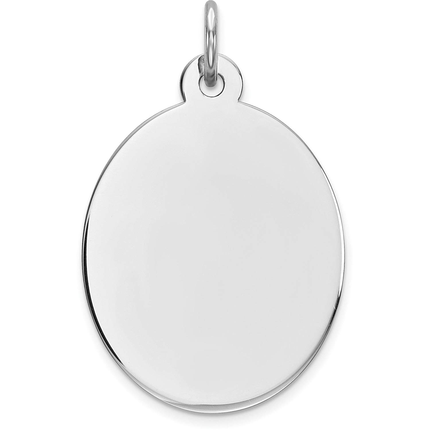 "Sterling Silver Disc Oval Charm 0.018"" 16.2mm"