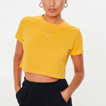 Sexy Short Sleeve Top Casual Orange Color Crop TOP For Women