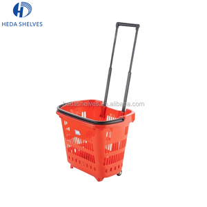 Wholesale Cheap Price Durable Small Plastic Shopping Basket With Wheels