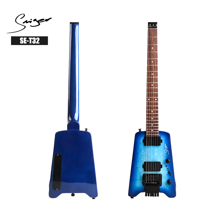 Wholesale Price Maple Neck Headless Electric Guitar with High Quality in Blue