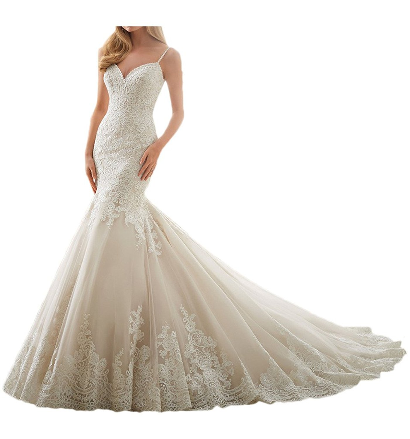 0acc1a54a74 Get Quotations · MILANO BRIDE Gorgeous Wedding Dresses Mermaid Backless  Sweetheart Floral Lace