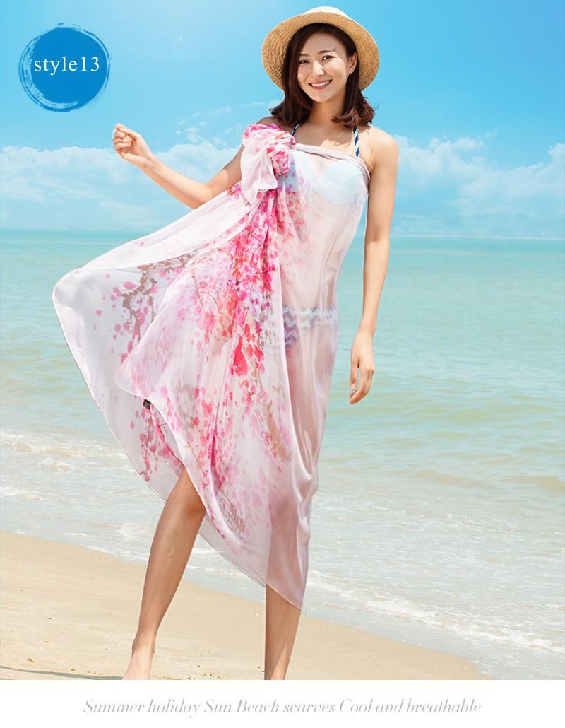 7b46ba0c51 2017 Summer Womens Wrap Dress Pareo Sarong Beach Floral Swimwear Cover Up  Chiffon Scarf indian beach pareo