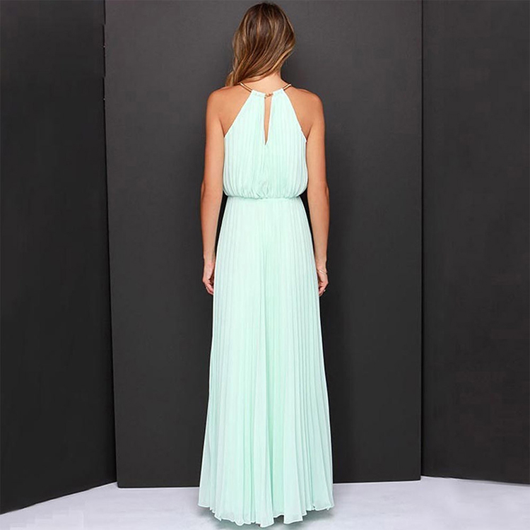 Lover-Beauty Light Blue Maxi Length Pleated Long Evening Party Dress