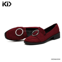 Latest cool designer maroon loafers faux suede low heel loafer shoes online closed chunky heel shoes