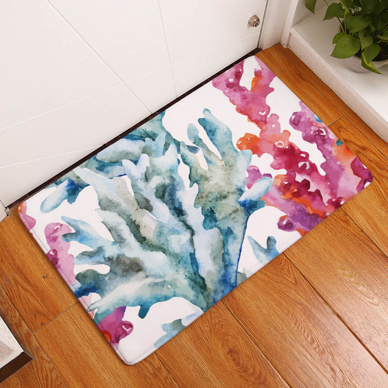 Coral Printing Flannel Carpet Hippocampus Pattern Mat For Living Room  40x60cm Door mat Rectangle Tapete - us898 a8c4b2fc039