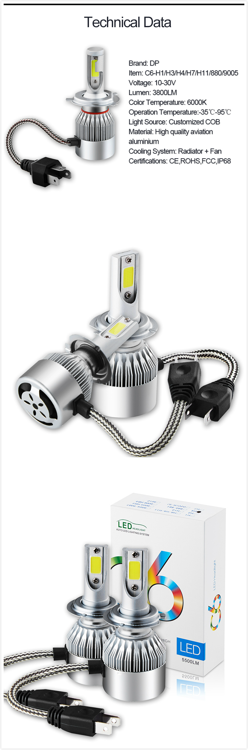 Car LED Headlight Bulb Set H4 C6 Light Bulbs