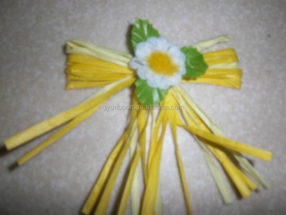 Raphia naturel de no l ruban fleurs pour la d coration - Decoration de noel naturel ...