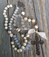 NM21478 Rosary Gemstone Beaded Religious Cross Prayer Necklace