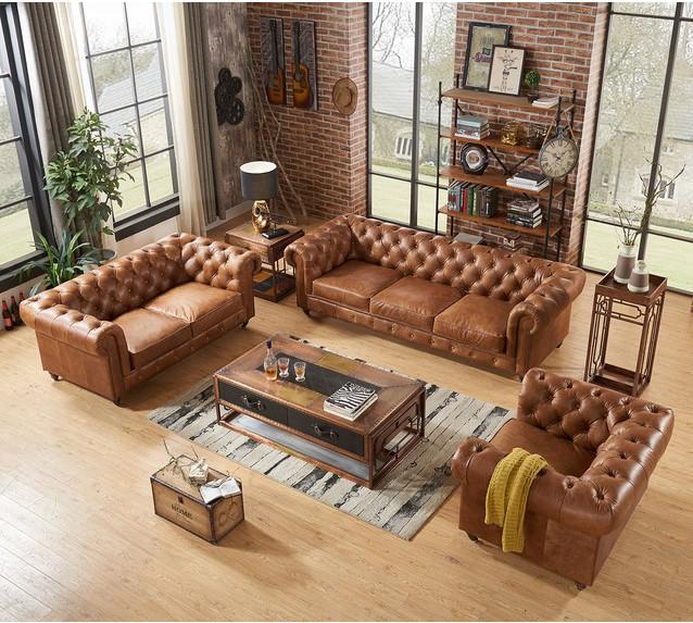 Único grande conjunto de sofá de canto salão árabe majlis muebles de luxo de couro genuíno e antigo francês sofá de couro chineses