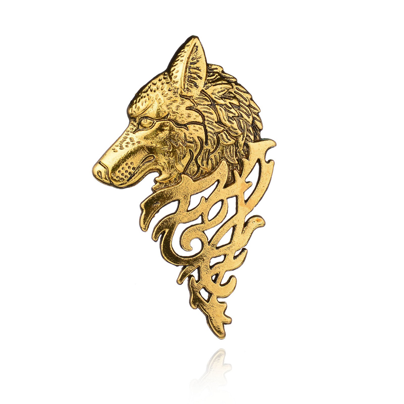 Alibaba.com / Wholesale gold silver plated metal badges brooch wolf dog head brooch  with animal design for men