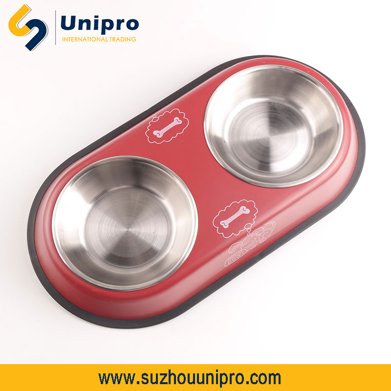 printed iron stand with double stainless steel dog food bowl