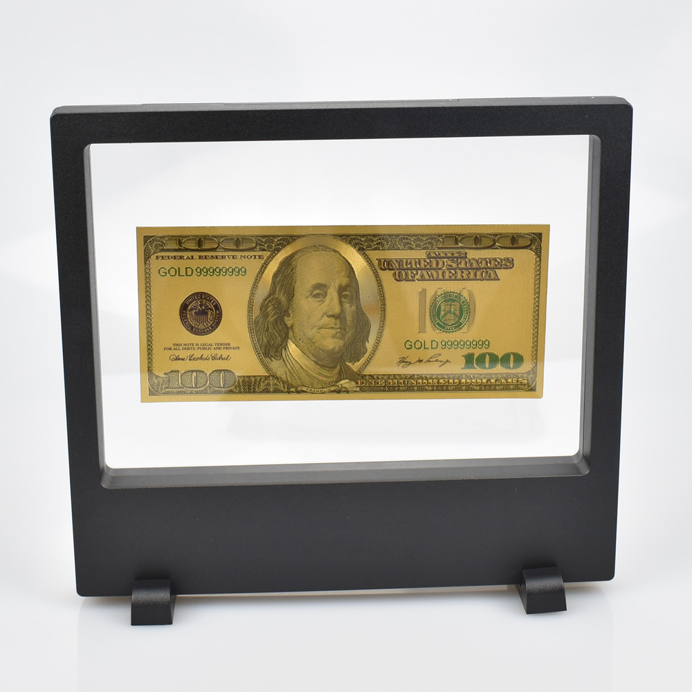 High Quality 100 Dollar paper money 24K Gold foil Banknote With Showing case