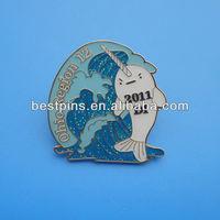 USA Lapel Pin Ohio Region Sea Park Dolphin Badge Pins With Glitter