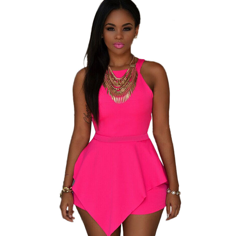 a0d1d4fe142d Get Quotations · One Size Sexy Cut Out Ruffles Rompers Womens Jumpsuit 2015  Summer Short Jumpsuit For Women Pink