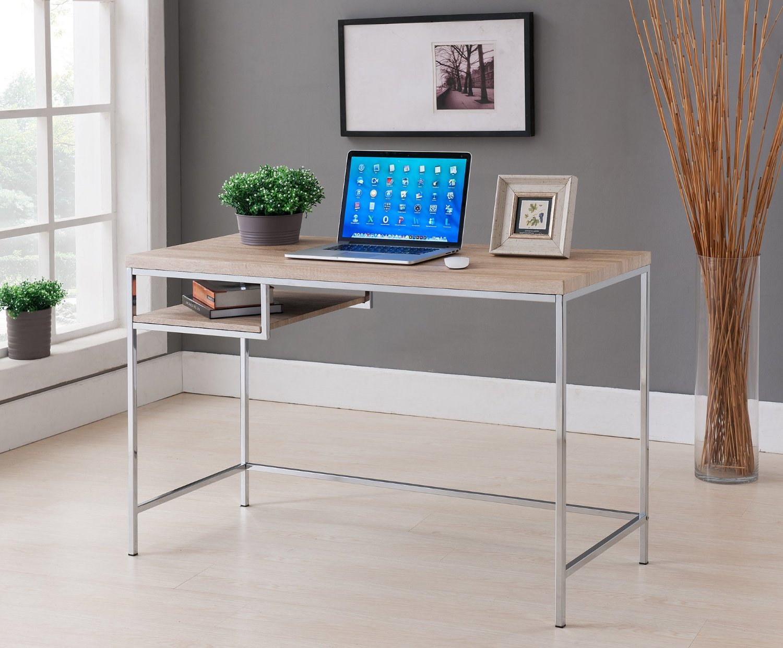 Kings Brand Furniture Modern Design Home & Office Computer Writing Desk, Chrome/Natural