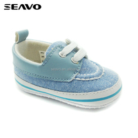 SEAVO SS17 beautiful soft touch funny cowboy style denim indoor casual navy soft baby shoes