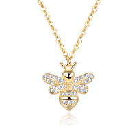 Factory price 925 sterling silver 3A cubic zirconia K gold plating animal bee necklace turkey