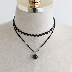 Fashion Double Layered Black Lace Choker Necklace With Pearl