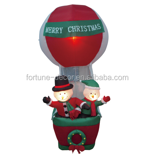 210cm/7ft two inflatable snowman sit on red hot air ballon for christmas decoration