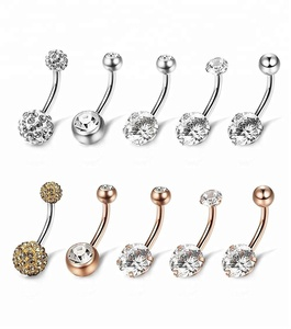 G23 Titanium Body Jewelry CZ Belly Button Ring Navel Piercing