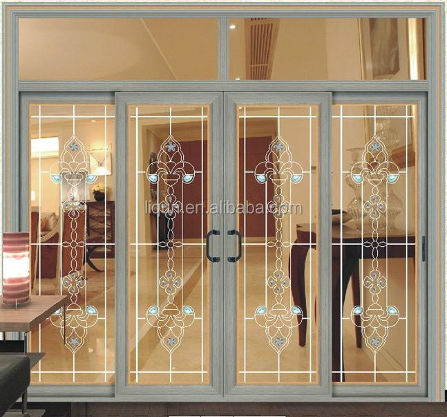 nuevo estilo de aluminio de cristal biselado interior perfil deslizante puertas batientes