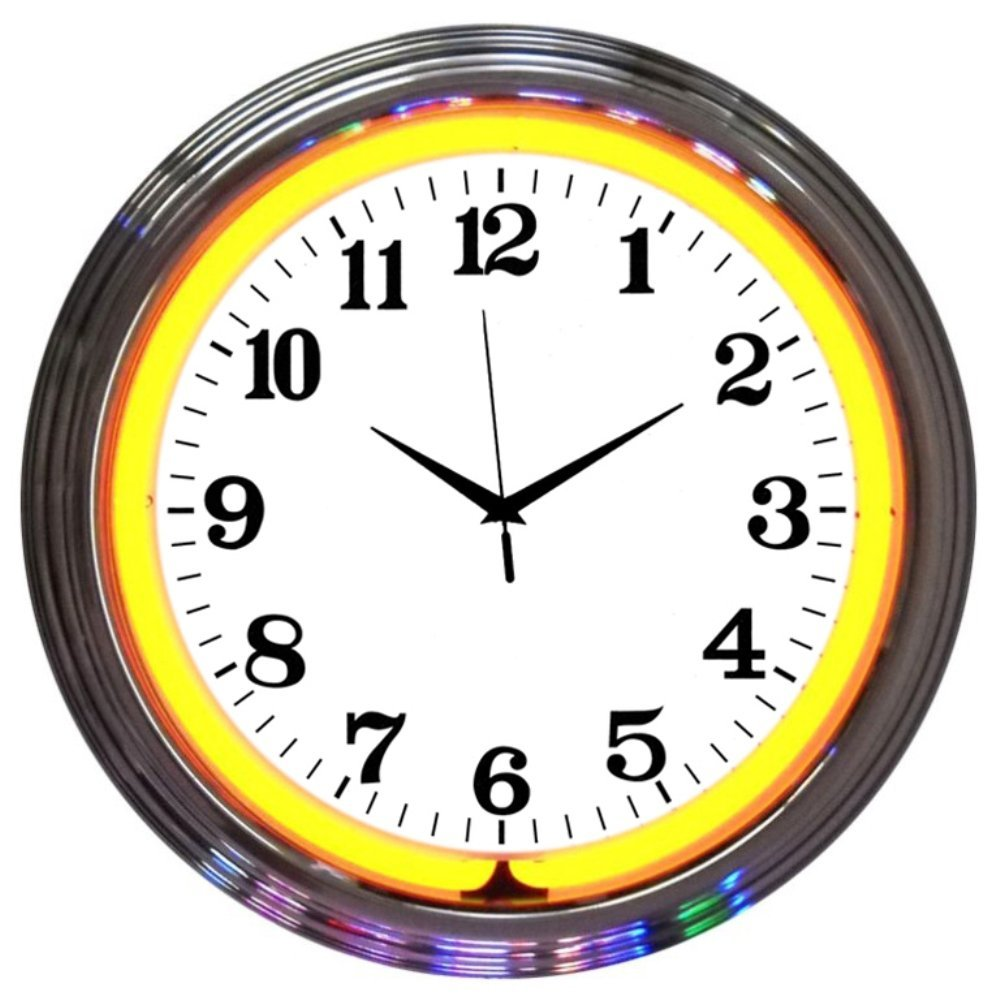 Neonetics Bar and Game Room Neon Alphanumeric Wall Clock with Orange Neon and Chrome Rim, 15-Inch