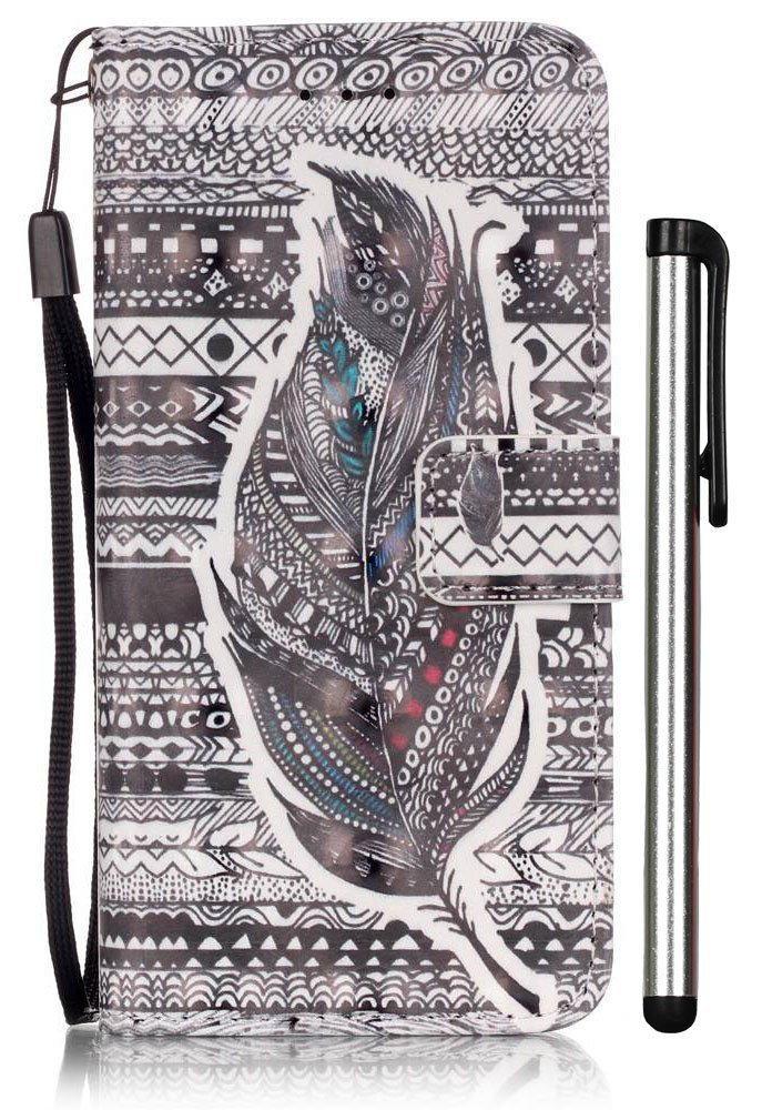 iPhone 6S Case, iPhone 6 Case,[3D Painting] PU Leather Magnetic Flip Wallet Folio Case with Card Slots for Apple iPhone 6 6S 4.7 inch Aztec Tribal Feather [Not Fit 6 PLUS 5.5]