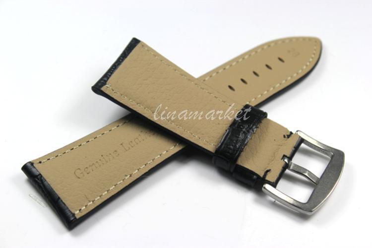 28 мм ( пряжка 24 мм ) - класс высокое качество черный из натуральной кожи ремешок для часов ремешок TG108a