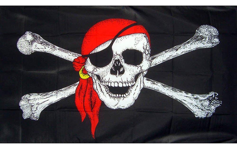 Gooday 3ft x5 ft Pirate Bandana Flag Boats Treehouse Skull and Crossbones Jolly Roger