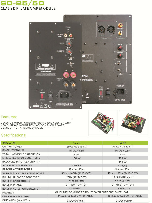 SD-25 250W At 4ohm CLASS D Subwoofer Plate Amplifier