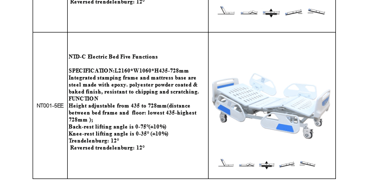 Famous Brand five function electric hospital bed/ Nursing bed